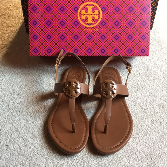 8f5f6099ce5f9 Tory Burch Bryce flat thong sandal royal tan sz 8